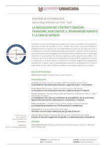 La mediazione nei contratti bancari, finanziari, assicurativi, il savraindebitamento e la crisi di impresa